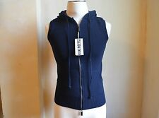 BIKKEMBERGS DELUXE BLUE WOOL THICK KNIT DESIGN SWEATER VEST WITH HOOD S S ITALY