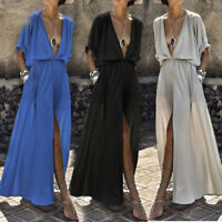 Women Fashion Deep V neck Beach Sexy Split Chiffon Casual Party Split Maxi Dress