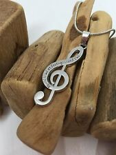 Lovely Musical Note NECKLACE - Music Is What Feelings Sound Like - UK Stock