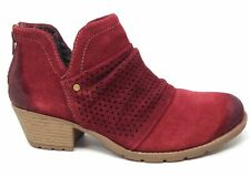 Earth Origins Womens Amanda Perforated Ankle Booties Garnet Suede Size 9.5 M US