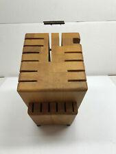 Knife Holder 19-Slot Wood Block Knife Holder Cutlery Storage Vtg, Nice!