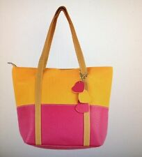 SALE Large Colorblock Tote NWT - Golden with Raspberry