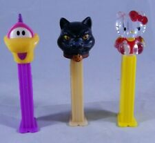 3 Pez Dispenser Lot Black Halloween Cat Clear Hello Kitty Dinosaurs