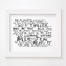 `Noir Paranoiac` MICHAEL JACKSON Art Print Typography Lyrics Signed Wall Poster
