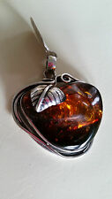 Poland Artisan 925 Sterling Silver Genuine Cognac Baltic Amber Pendant Necklace