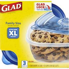 NEW X Large Glad Food Storage Containers - 3 Family Sized Container 104 Ounces