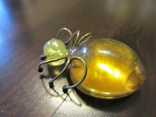 Stunning Delicate VTG Baltic Amber?Yellow Beetle Copper Legs ? Pin/Brooch 5 Gr