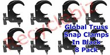 """Global Truss Snap Clamp Black New! (8 Pack) Use with 2"""" Od Pipe Quick and Easy!"""