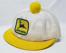 Vintage John Deere Patch Pom Snapback Trucker Mesh Hat Cap Usa Louisville Mfg