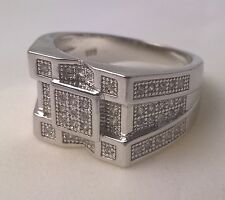 925 Sterling silver Men's simulated diamond ring genuine US size 11 Australian W