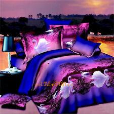 New Doona/Quilt Cover Set Duvet Covers Pillow Cases Queen Size Purple Swan