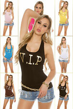 Women Vest Top Ladies Tank Blouse Clubbing Party V I P Sexy Shirt Size 6 8 10