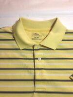 PGA Tour Mens  Golf Polo Short Sleeve Yellow Striped Shirt Extra Large