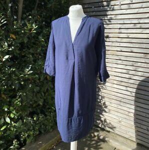Whistles Size M UK 12 - 14 Navy Lulu Shirt Tunic Dress VGC Pockets VGC