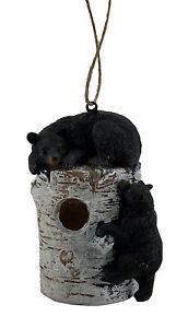 Zeckos Bear Pause Sleepy Black Bears On Birch Log Birdhouse