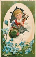 EASTER – Child Holding Pussy Willows Joyful Easter PFB Postcard
