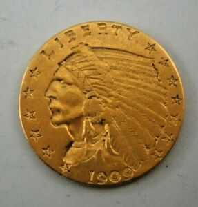 1909 US - $2 1/2 Dollar Gold Indian Head, Quarter Eagle Coin