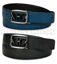 SALVATORE FERRAGAMO reversable 38 Black Blue FRAMED GANCINI buckle belt NWT $430