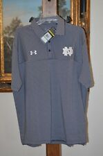 UNDER ARMOUR Loose Heat Gear Stripe Polo Shirt Navy/Gray SZ L LARGE NWT $59.99
