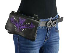 Milwaukee Leather - Ladies Leather Multi Pocket Belt Bag w/ Gun Holster **MP8851