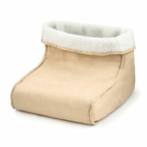 Cream Electric Foot Warmer Massager Soothing Relaxing Hot Feet Massage Faux Fur