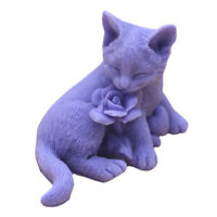 Cat Rose 3D Soap Mold Silicone Handcrafted Candle Wax Resin Mould Handmade Mold