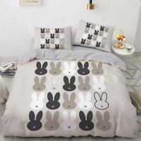 3D Black Rabbit Ear ZHUA339 Bed Pillowcases Quilt Duvet Cover Set Queen King Zoe