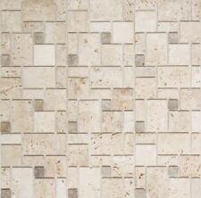 Selbstklebend Travertin Naturstein Beige Matt Wand 200-4CM14 | 10Mosaikplatten