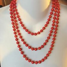 "60"" long Wrap Around 8mm sparkly gorgeous Orange stone bead Necklace gift"