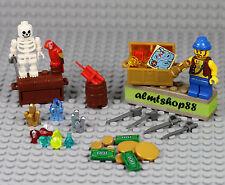 LEGO - 38 pcs Lot Treasure Chest Pirate Skeleton Captain Jewels Gold Map Money