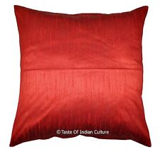 "XL Red 24"" Cushion Pillow Cover Throw Dupion Silk Indian Home Floor Ethnic Decor"