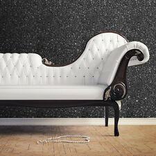 Create a WOW WALL !! Sparkle Black Glitter Lightly Textured Wallpaper