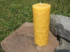Hand Poured 100% Beeswax Honeycomb Pillar Candle All-Natural, Cotton Wick