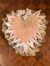 Vintage Antique Handmade Pin Cushion Crocheted Satin Ribbon Heart Pillow