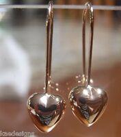 Kaedesigns NSW 9CT ROSE GOLD DANGLE PUFFED HEART LONG HOOKS EARRINGS