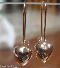 9CT ROSE GOLD DANGLE PUFFED HEART LONG HOOKS EARRINGS *FREE EXPRESS POST IN OZ