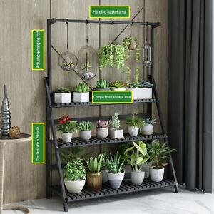 3 Tier 100CM Folding Wooden Hanging Pot Plant Stand Flower Shelf Storage Rack
