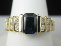 3Ct Blue Sapphire & Diamond Channel Set Engagement Ring 14K Yellow Gold Over