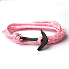 New Men's Gold Black Anchor Polyester Rope Multiple Layers Weave Wrist Bracelet