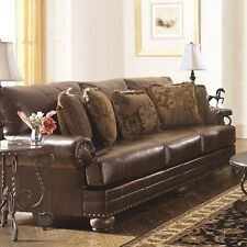 Ashley Furniture Chaling Leather Sofa in Antique