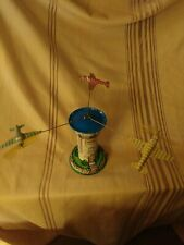 Vintage Tin Wind Up Toy Schylling Aerodrome Airport Control Tower Planes Litho