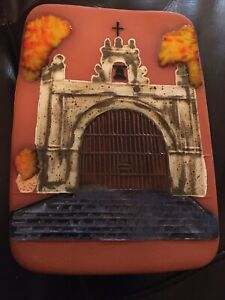"""Studio Art Hanging Terra Cotta Hand Crafted Glazed Wall Tile Of Church~6.75x5"""""""