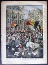 1914 WW1 BELGIO BRUXELLES LIEGE Mons. Bonomelli EMIGRANTI ITALIANI torre Padova