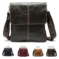 NEW Men Women Genuine Leather Shoulder Bag Messenger Crossbody Tablet Handbag