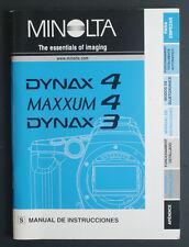 MINOLTA INSTRUCTIONS MANUAL DYNAX 4/MAXXUM 4/DYNAX 3 SPANISH