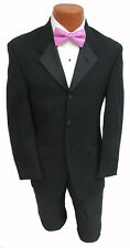 46S Mens Black Kenneth Cole Tuxedo Jacket Satin Lapels Wedding Mason 46 Short