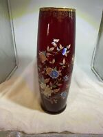 """VINTAGE NORLEANS RUBY GLASS VASE FLOWERS WITH BUTTERFLIES DESIGN 15 1/2"""" ITALY"""