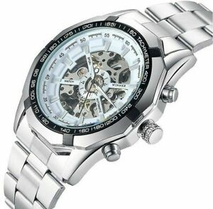 Mens Mechanical Automatic Watch Skeleton Stainless Steel Self-winding Wristwatch