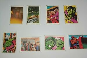 Incredible Hulk cards, FKS 1979, 8 cards decent condition, TV series and comic