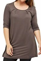 Womens Plus Size Long Stretch Tunic Top 3/4 Sleeve Brown Grey New Ladies